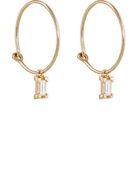 Baguette White Diamond Hoop Earrings by Ileana Makri