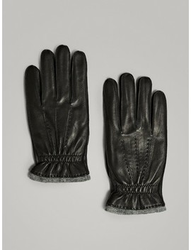 Leather/Wool Gloves by Massimo Dutti