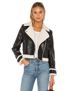 Faux Fur Hunter Moto Jacket In Black by Central Park West