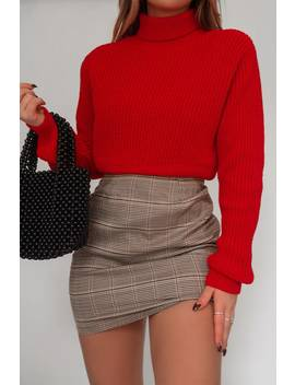 Fashion Influx Red Rib Roll Neck Crop Jumper by In The Style