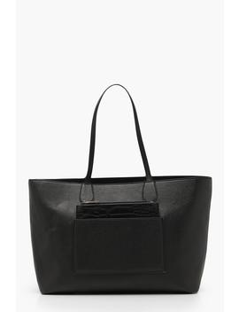 Structured Faux Croc Panel Tote by Boohoo