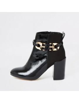 Black Patent Buckle Heeled Ankle Boots by River Island