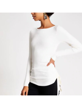 Cream Ruched Side Ribbed Long Sleeve Top by River Island