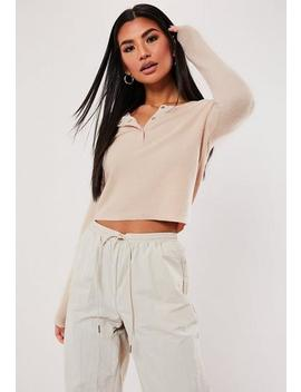 Nude Brushed Popper Long Sleeve Top by Missguided