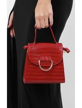 Red Croc Print Shoulder Grab Bag   Mercy by Femme Luxe
