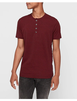 Printed Moisture Wicking Short Sleeve Performance Henley by Express