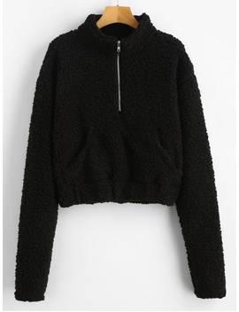 Hot Half Zip Fluffy Faux Shearling Teddy Sweatshirt   Black S by Zaful