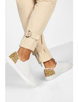 Leopard Panel Basic Flat Trainers by Boohoo