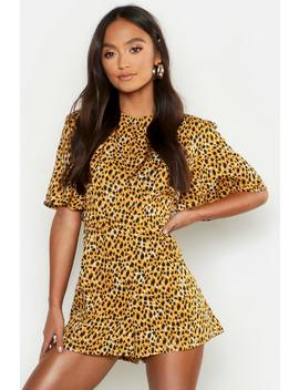 Petite Leopard Print High Neck Playsuit by Boohoo