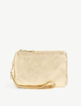 Leather Metallic Pouch Bag by Sandro