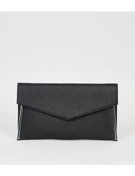 Black Shimmer Asymmetric Clutch Bag by New Look
