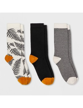 Women's Fern 3pk Crew Socks   A New Day™ Black One Size by A New Day