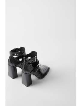 Studded Animal Embossing Cut Out High Heel Ankle Boots by Zara