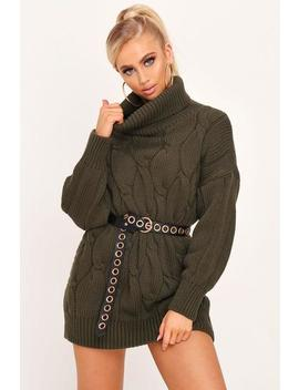 Khaki Roll Neck Cable Knit Jumper by I Saw It First