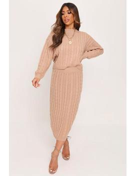 Stone Cable Knit Jumper And Skirt Set by I Saw It First