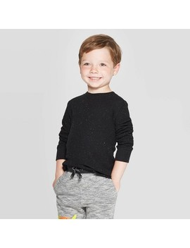 Toddler Boys' Nep Thermal Long Sleeve T Shirt   Cat & Jack™ Black by Cat & Jack