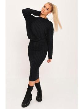 Black Cable Knit Jumper And Skirt Set by I Saw It First