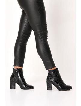 Black Croc Patent Pointed Ankle Boots by I Saw It First