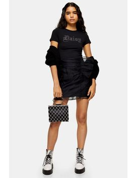 Black Organza Spot Ruffle Mini Skirt by Topshop