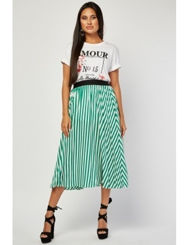 Pleated Stripe Midi Skirt by Everything5 Pounds