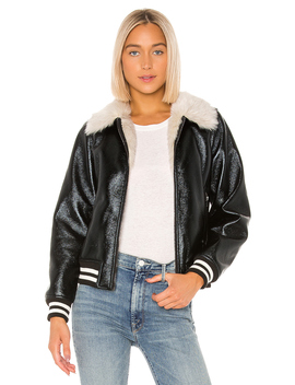 The Faux Fur & Vegan Leather Moto Jacket by Mother