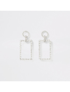 Silver Colour Diamante Rectangle Drop Earring by River Island