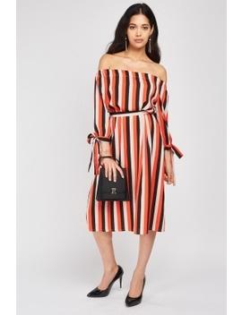 Multi Stripe Off Shoulder Shift Dress by Everything5 Pounds