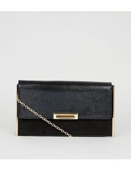 Black Faux Snake And Suedette Clutch Bag by New Look