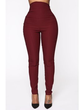 Can't Resist Super High Waisted Pants   Burgundy by Fashion Nova