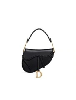Black Saddle Threaded Edges Soft Calfskin Bag by Dior