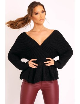 Black Knitted Wrap Front Plunge Peplum Jumper   Samara by Rebellious Fashion