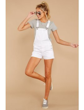 Chilled Out White Denim Short Overalls by Just Usa