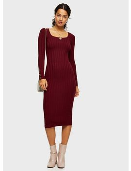 Burgundy Square Neck Knitted Dress by Miss Selfridge