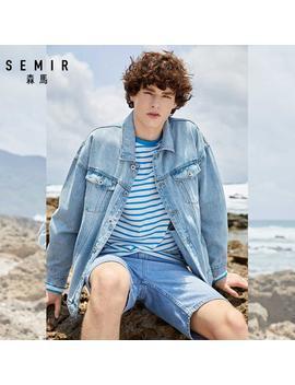 Semir Denim Jackets Men Coat Dark Blue Casual Teens Denim Jacket Cotton Turn Down Collar Long Sleeve Denim Bomber Jackets by Ali Express.Com