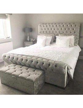 <Span><Span>Modern Crushed Velvet Chesterfield Sleigh Bed Memory Foam Mattress Free P&P</Span></Span> by Ebay Seller