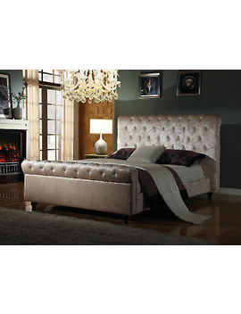 <Span><Span>Crushed Velvet Fabric Bed Frame Selina Cream 4 Ft6 Double/5 Ft King Size New 2019 </Span></Span> by Ebay Seller