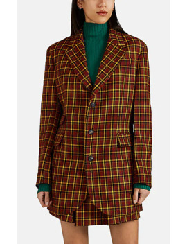 Plaid Wool Oversized Three Button Blazer by Plan C