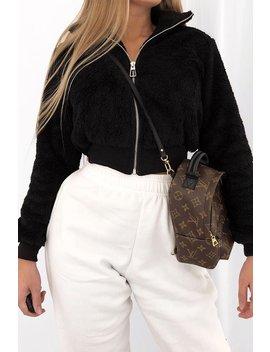 Black Zip Front Faux Fur Crop Jacket   Perri by Rebellious Fashion