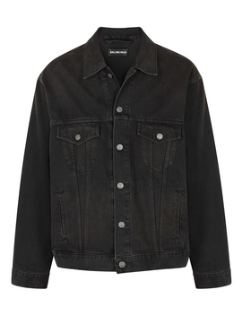 Black Logo Embroidered Denim Jacket by Balenciaga