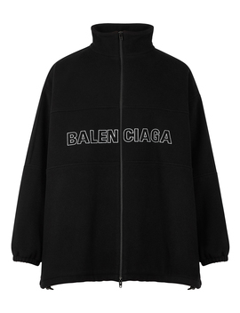 Black Logo Embroidered Wool Fleece Jacket by Balenciaga
