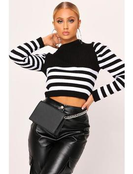 Black Puff Sleeve Stripe Knitted Top by I Saw It First