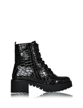 Black Croc Chunky Boots by I Saw It First