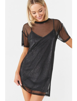 Mesh & Metallic Combo Dress by Forever 21