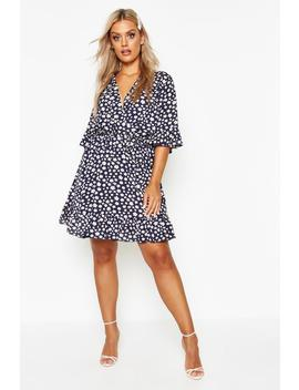 Plus Floral Polka Dot Ruffle Wrap Dress by Boohoo
