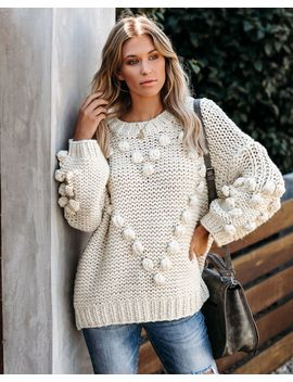 Heart To Heart Handmade Knit Pom Sweater   Soy Milk by Vici