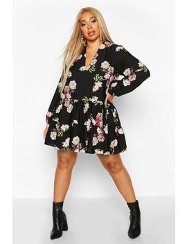 Plus Floral Tiered V Neck Smock Dress by Boohoo