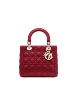 Borsa Media Lady Dior In Pelle Di Agnello Rosso Ciliegia by Dior
