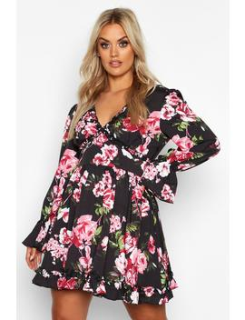 Plus Floral Ruffle Panel Smock Dress by Boohoo
