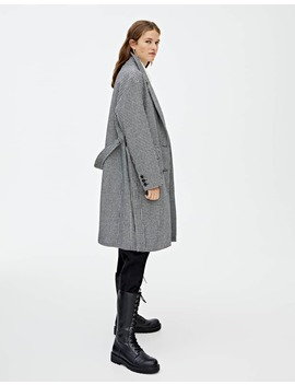 Checked Synthetic Wool Coat With Belt by Pull & Bear