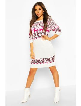 Christmas Slash Neck Fairisle Knitted Dress by Boohoo